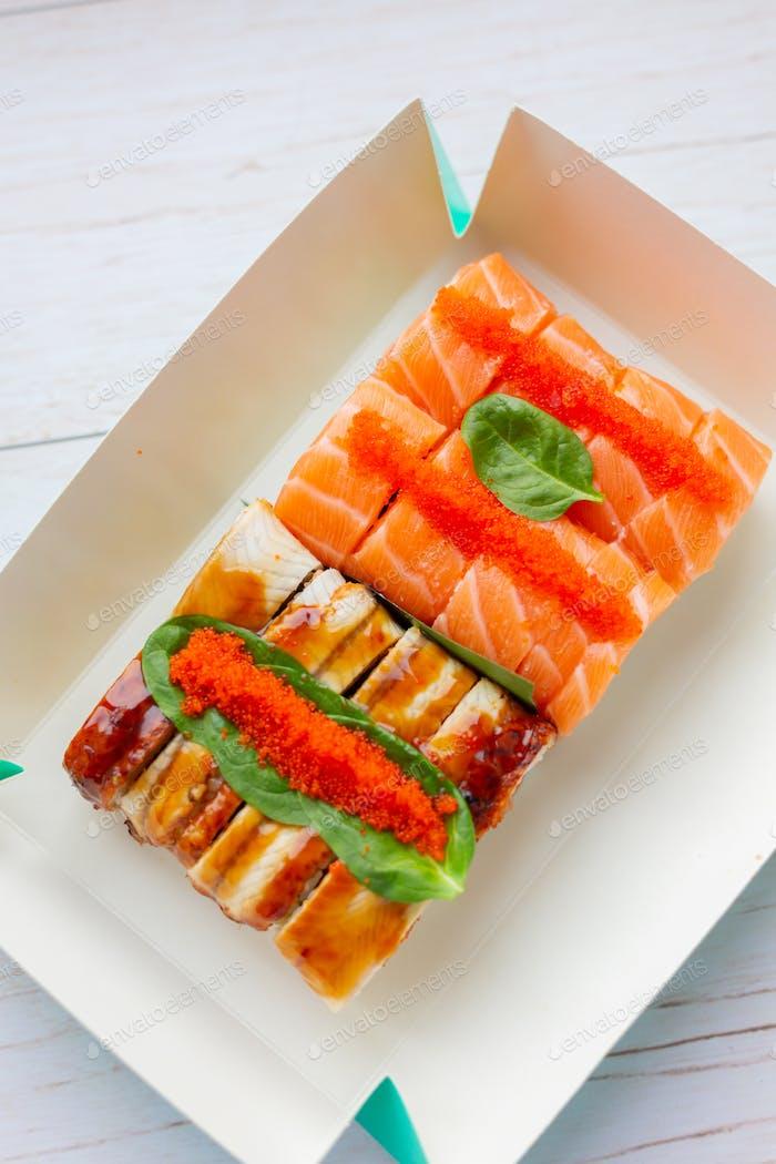 Sushi set with salmon and eel