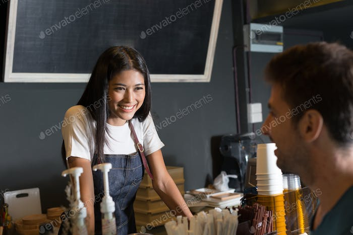 Beautiful Asian woman at the coffee shop