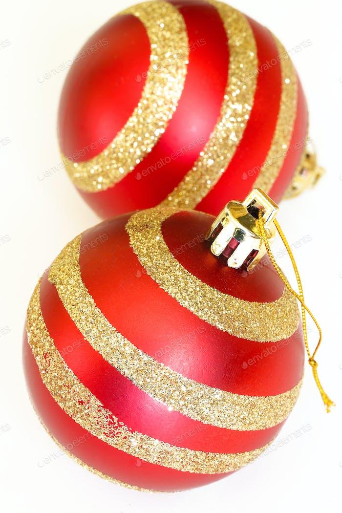 two christmas decoration balls