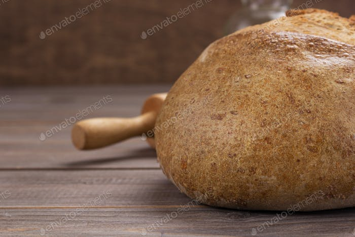 bread on wooden table background
