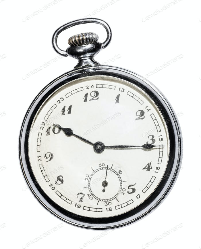 retro Pocket watch with white face isolated