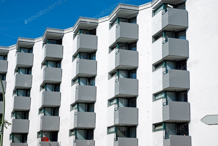 Building with many small balconies