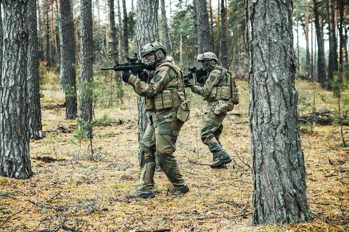 norwegian soldiers in the forest