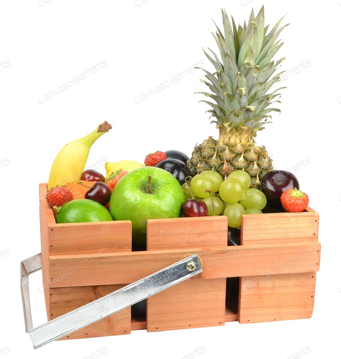 Fresh Fruit in Wooden Box