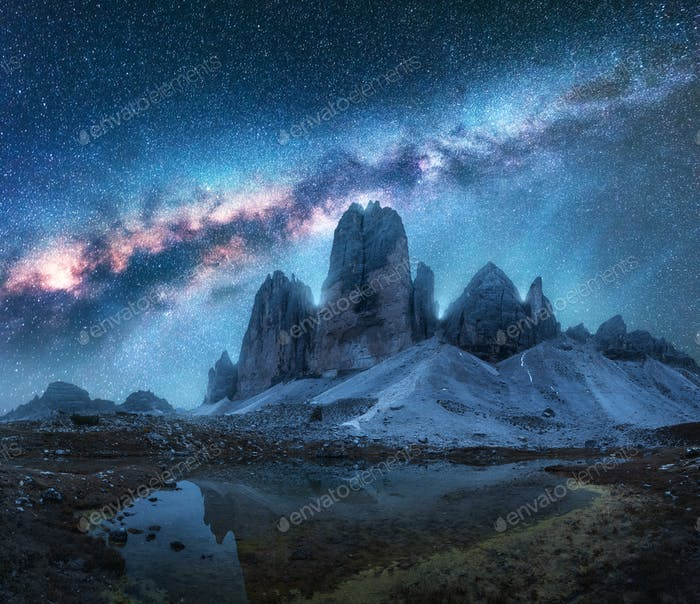 Milky Way over mountains at night in summer. Landscape