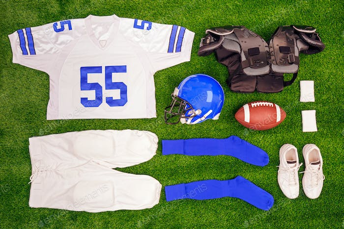 American footbal kit Flat lay