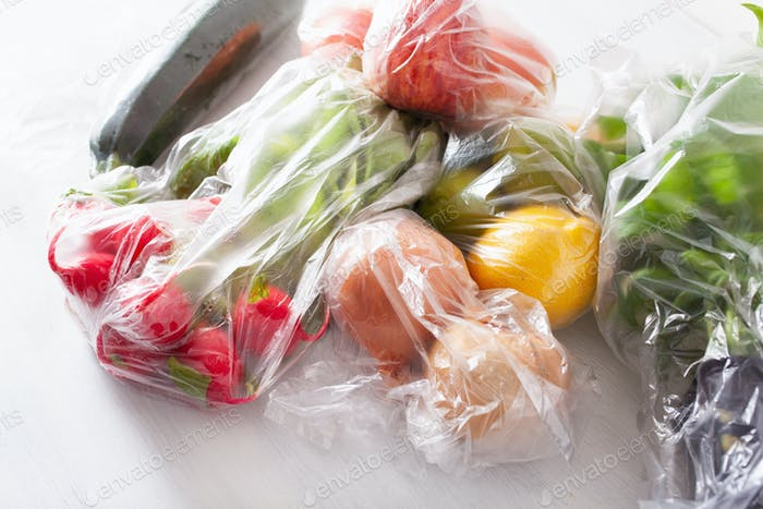 single use plastic waste issue. fruits and vegetables in plastic