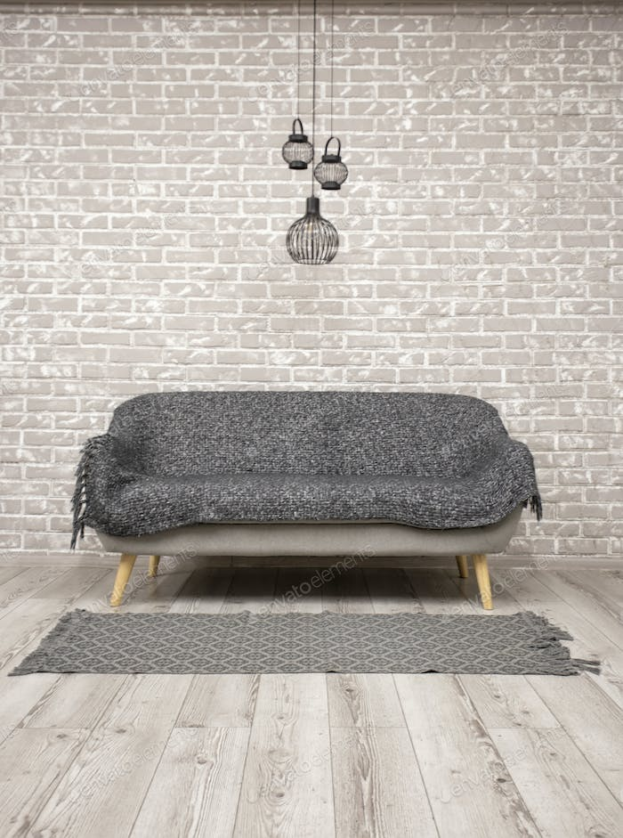 Brick Wall And Wooden Floor With A Sofa