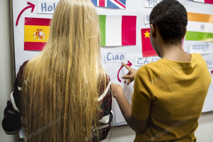 Girls friends decoration national flags board