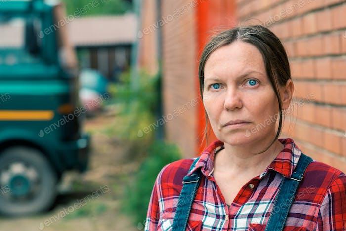 Portrait of female farmer on farm