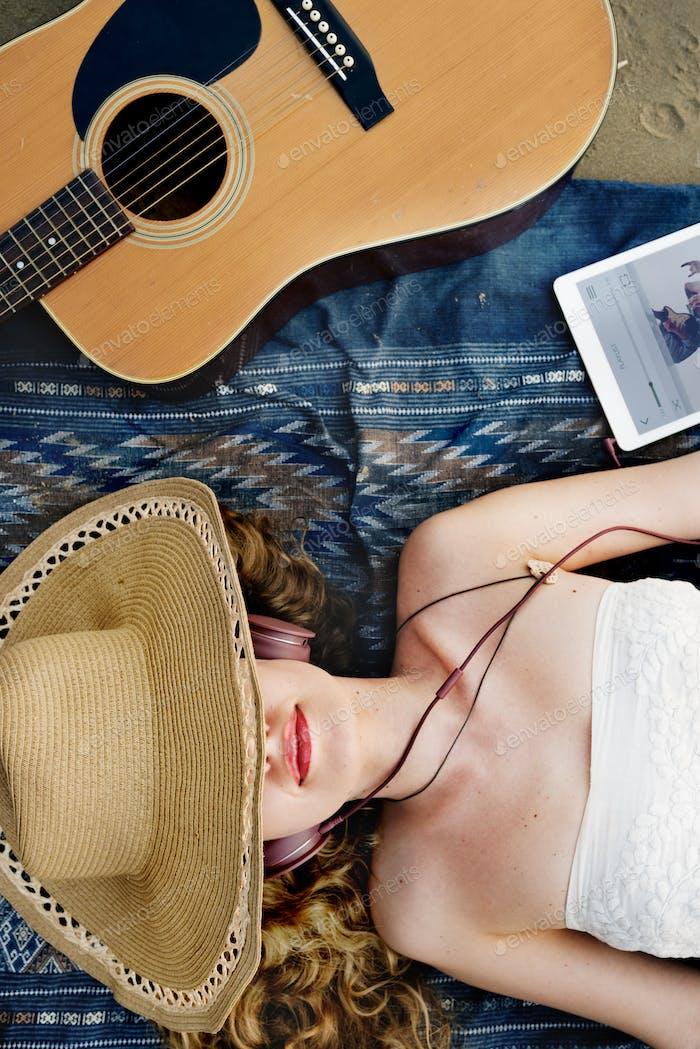 Girl Guitar Beach Music Song Headphone Rhythm Concept