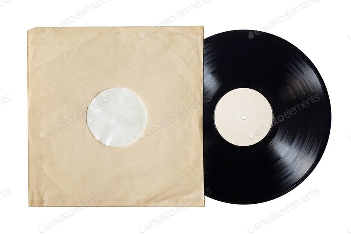 Paper inner sleeve and vinyl LP record isolated on white.