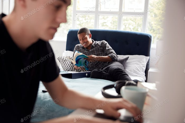 Two Male College Students In Shared House Bedroom Studying Together