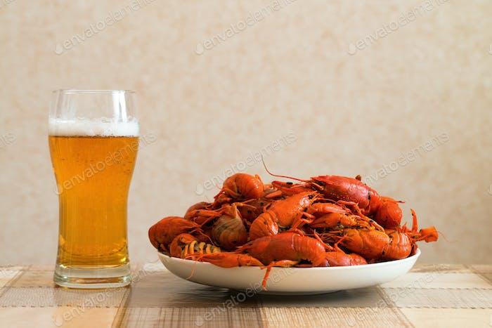 Prepared crayfish with beer