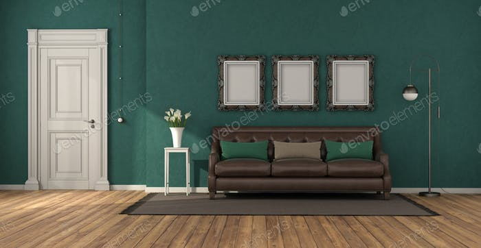 Green classic living room with leather sofa