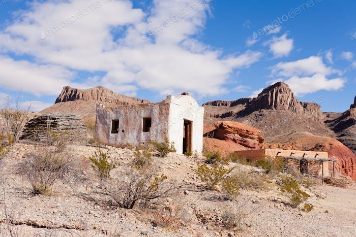 Desert landscape with historic adobe buildings