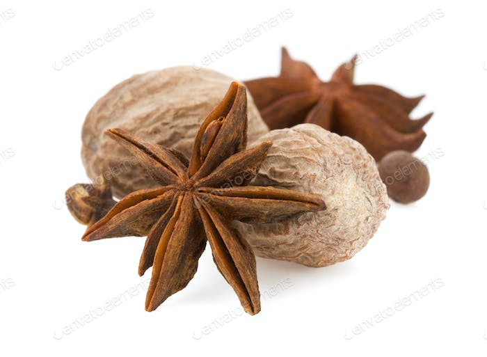 anise star and nutmeg on white