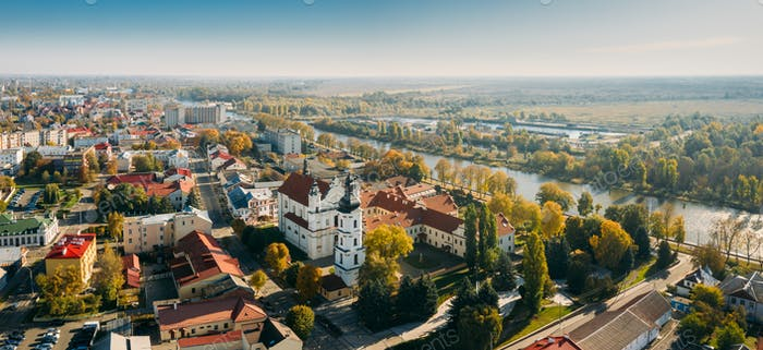 Pinsk, Brest Region, Belarus. Pinsk Cityscape Skyline In Autumn Morning. Bird's-eye View Of