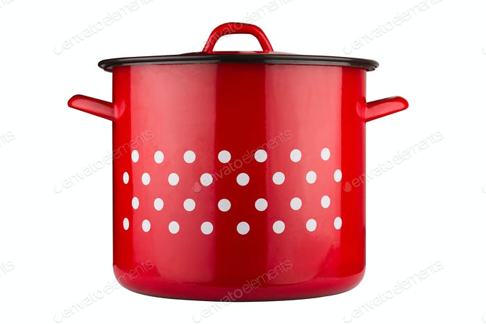 large rustic red cooking pot