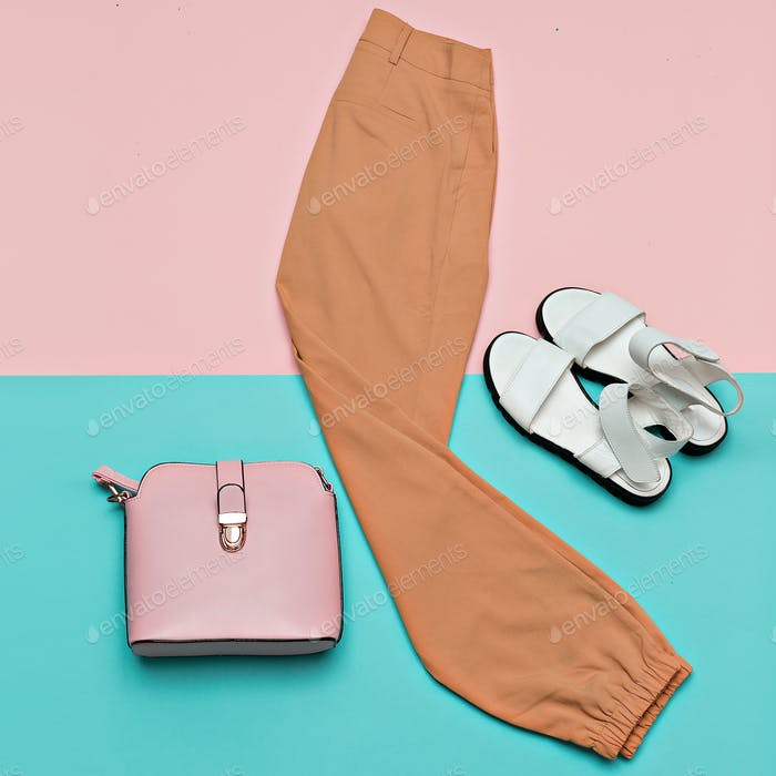 Summer Outfit Trousers Sandals Bag Minimal Design