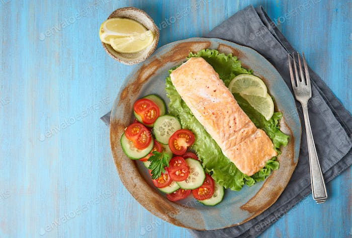 Steam salmon and vegetables, Paleo, keto, fodmap diet. Copy space, top view. Healthy diet concept