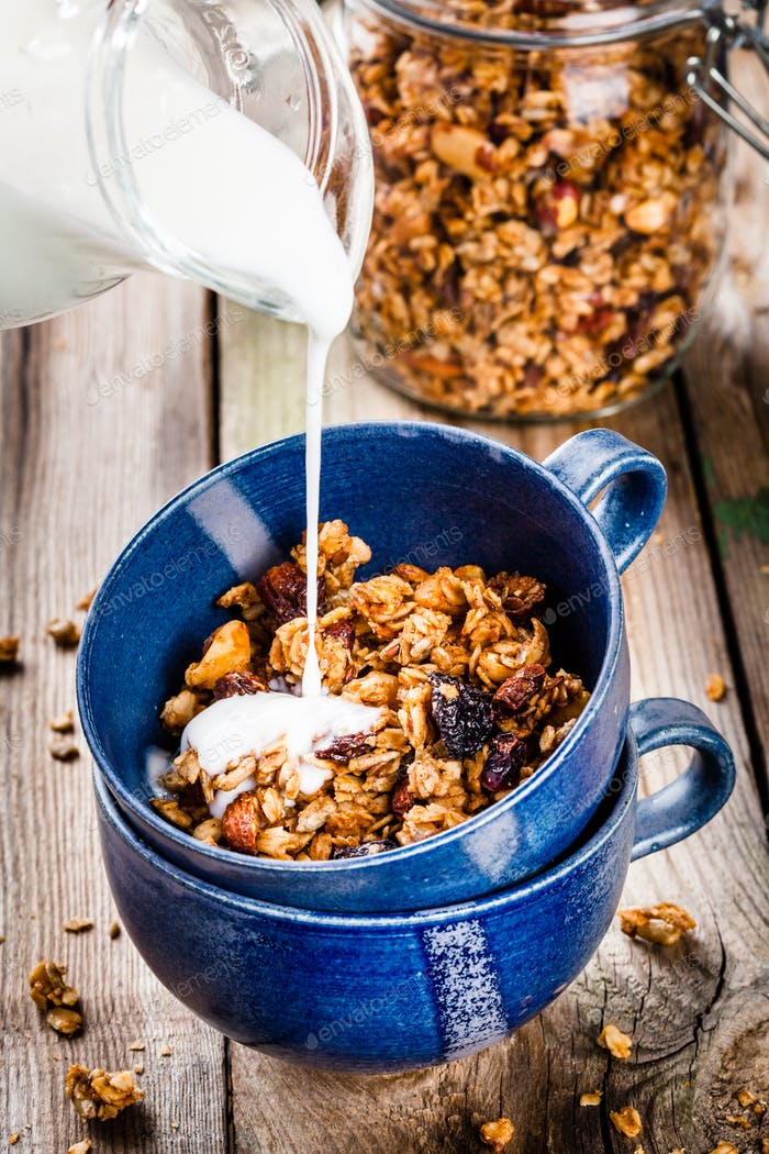 Breakfast: homemade granola with yogurt