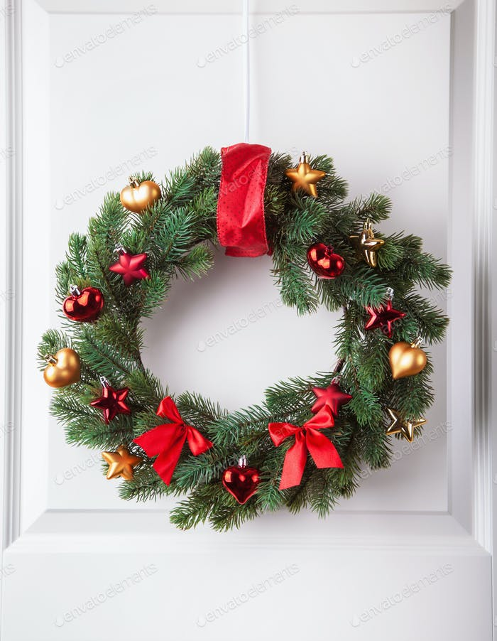 christmas winter decoration wreath firtree star