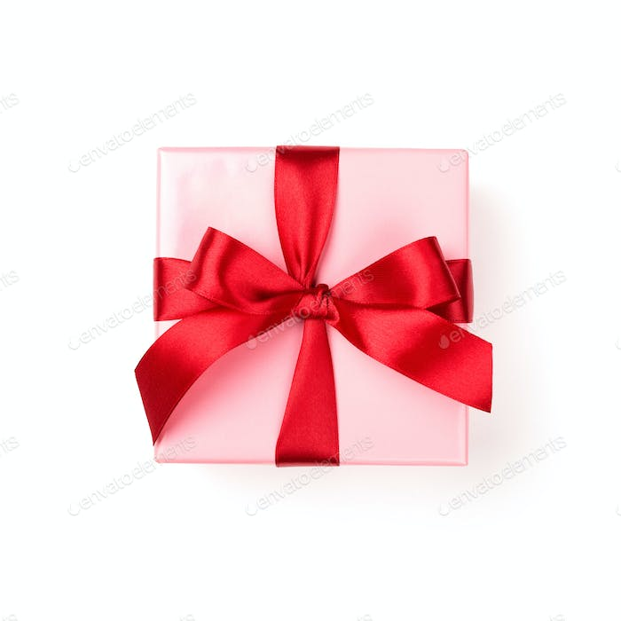 Pink Gift Box Isolated on White Background.