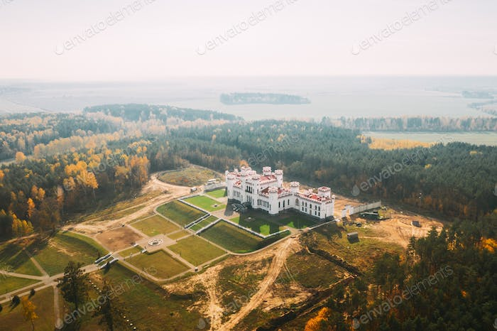 Kosava, Belarus. Aerial Bird's-eye View Of Famous Popular Historic Landmark Kosava Castle