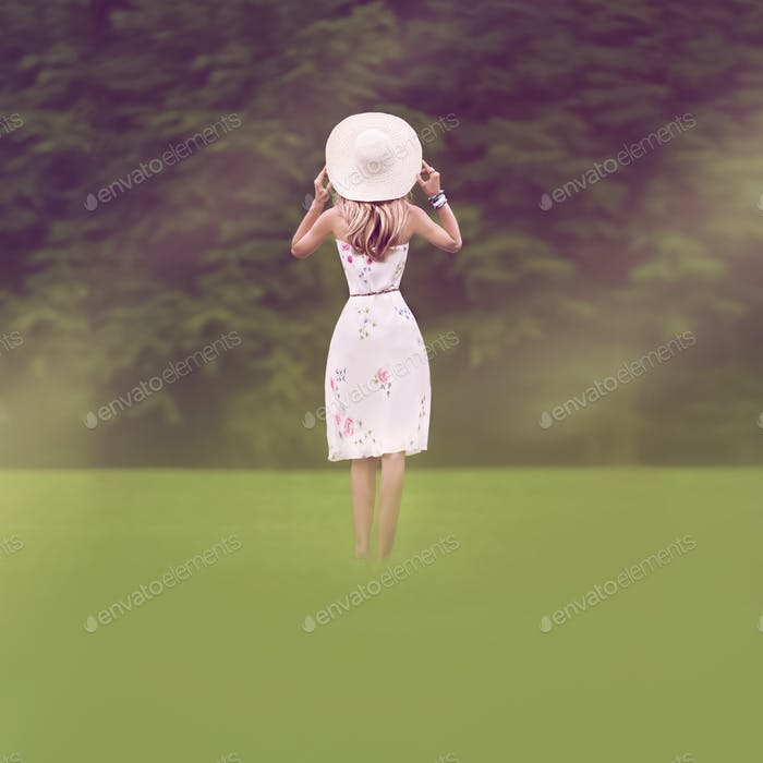 Romantic l Girl Outdoors. summer walk
