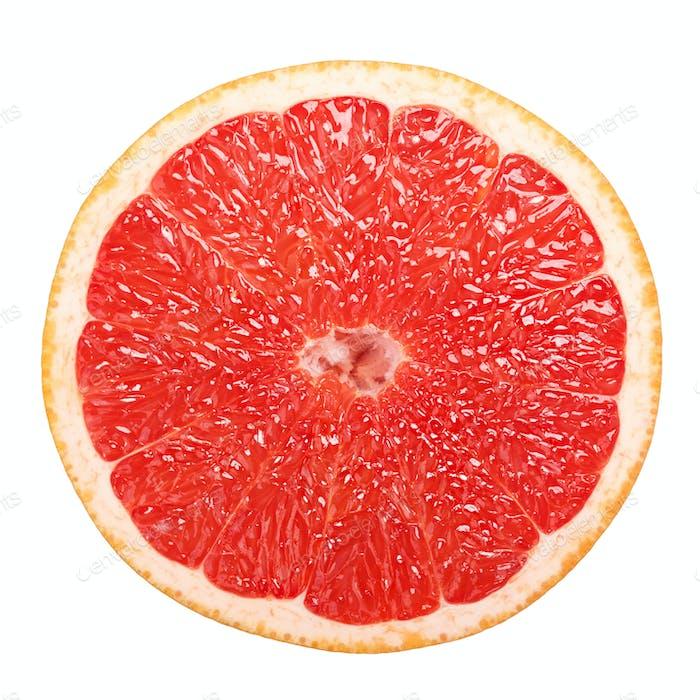 Grapefruit wheel slicer isolated, top