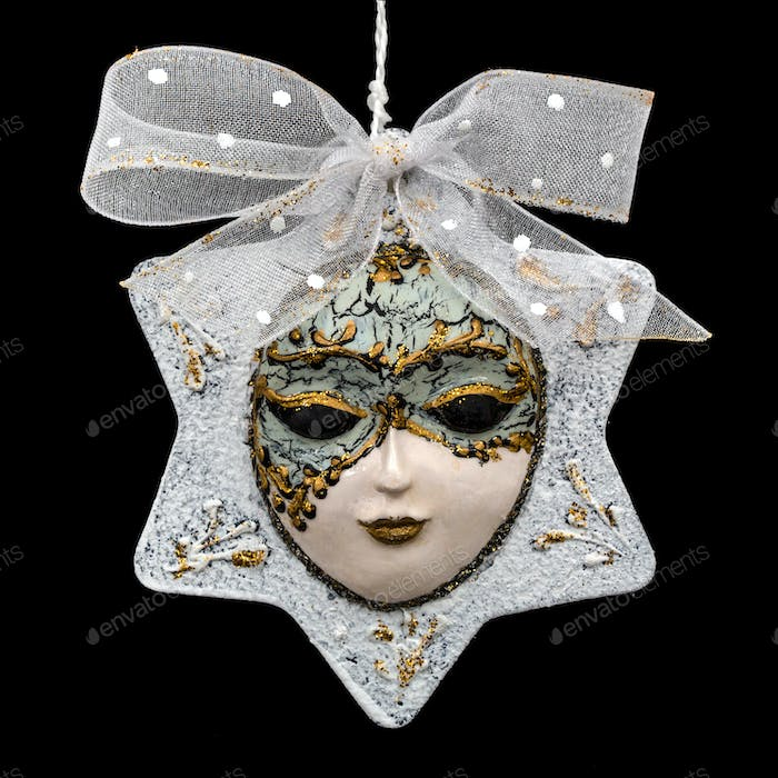 Beautiful mask of hand-worked for festive decoration