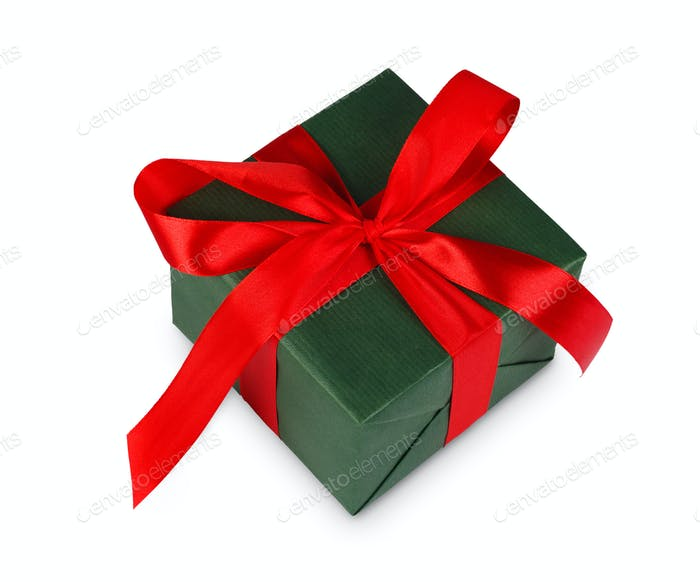 Thumbnail for Christmas holiday gift box in green paper isolated on white