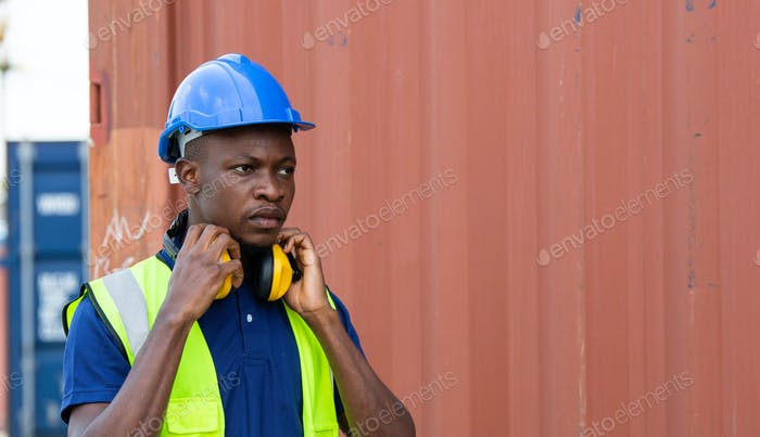 Portrait of Black African American worker at constuction site