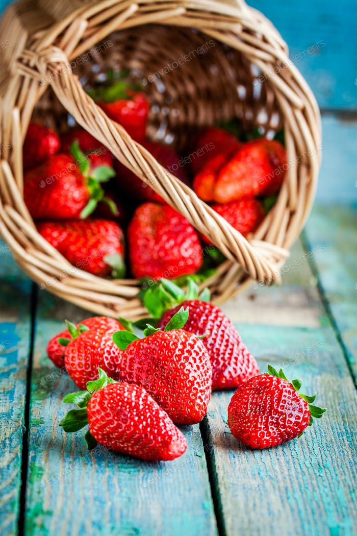 Fresh ripe organic strawberries in a basket