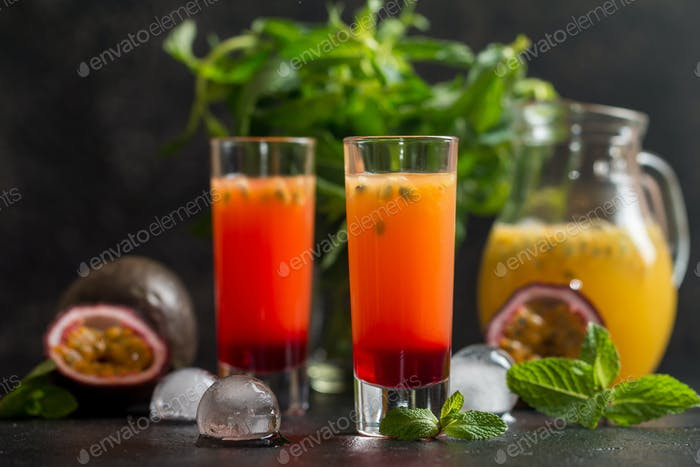 Cold cocktail with passion fruit
