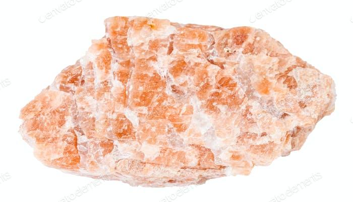 rough pink pegmatite stone isolated on white