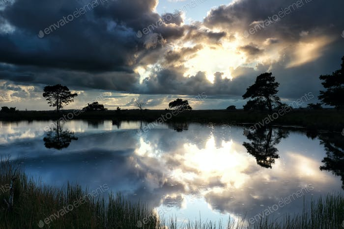 dramatic stormy clouds over wild lake