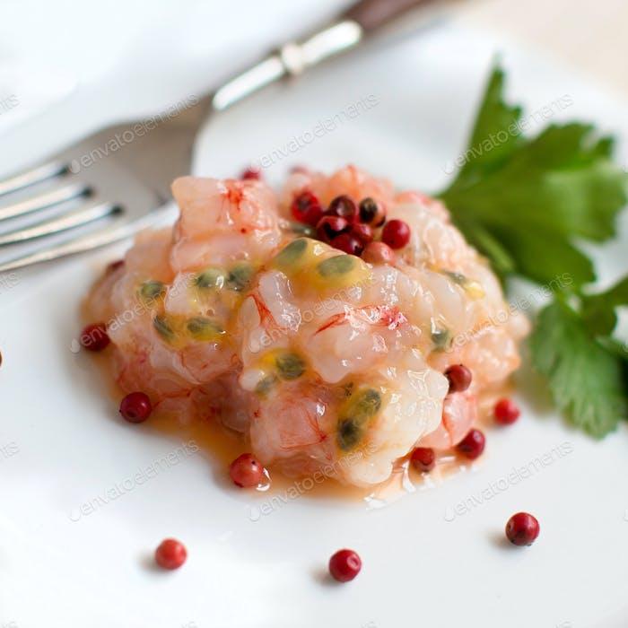 Delicious raw shrimps tartare