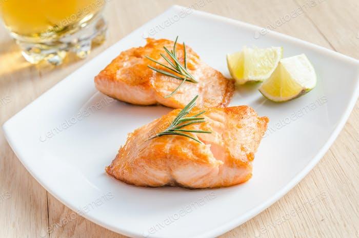 Roasted salmon steak