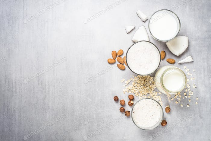 Vegane Nicht-Milchprodukte Alternative Milch Top View.