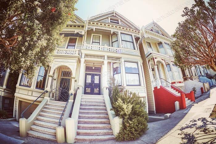 Fisheye lens picture of the Painted Ladies, San Francisco.