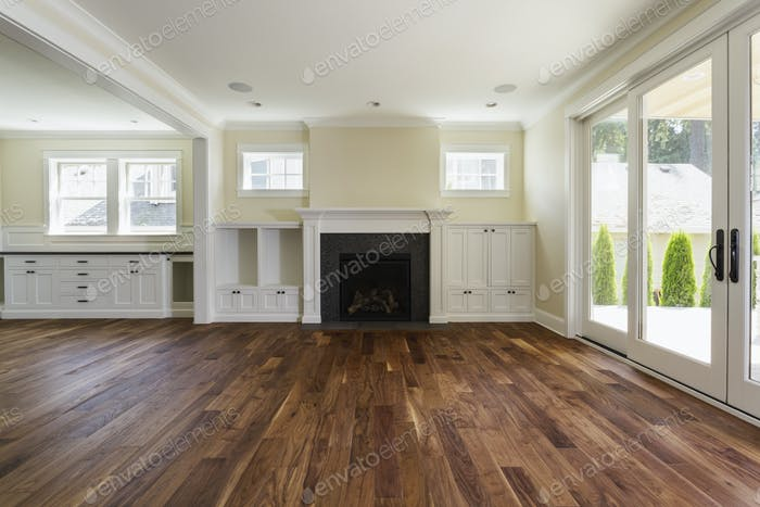 54533,Fireplace and built-in shelves in living room