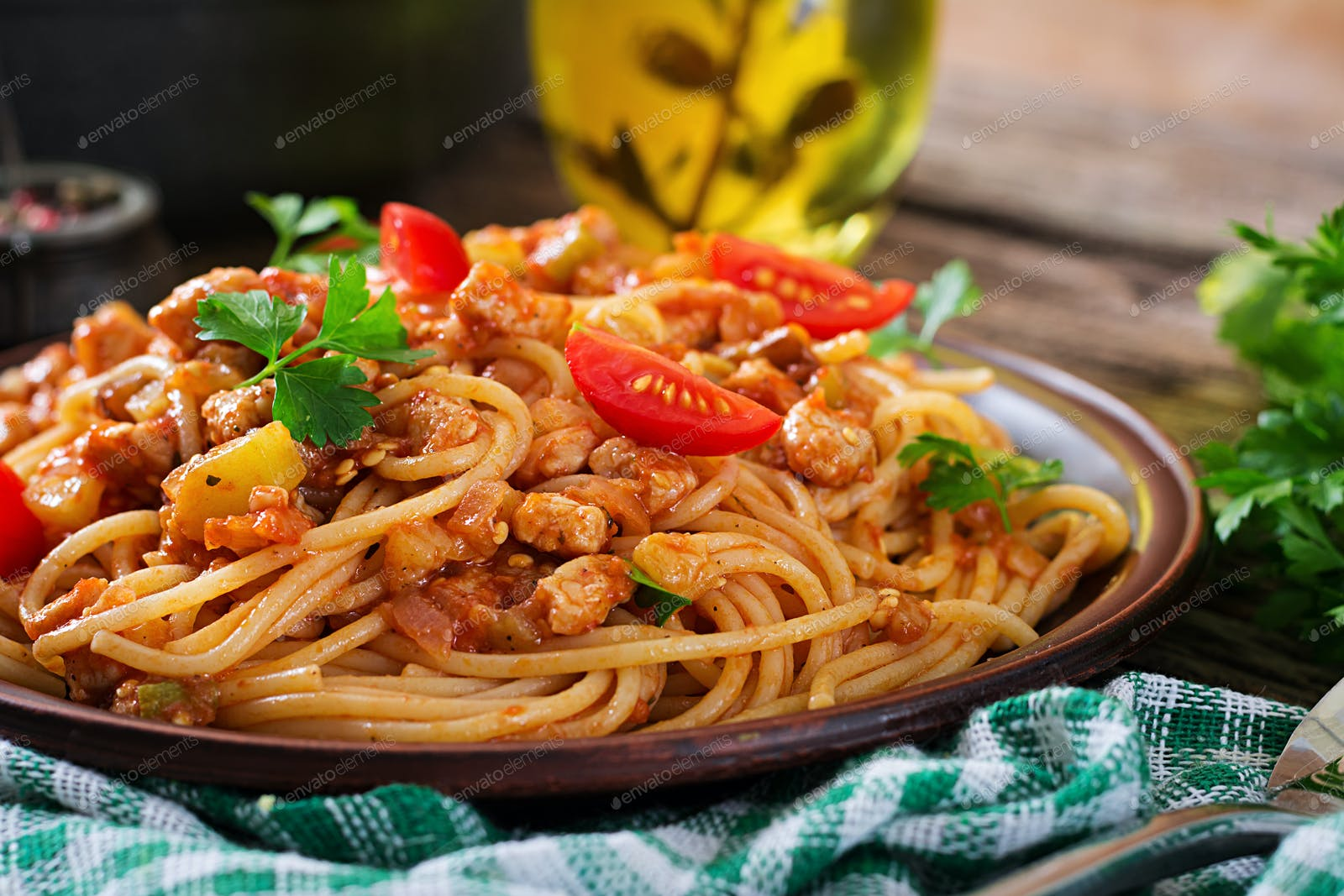 Spaghetti Bolognese Pasta With Tomato Sauce Vegetables And Minced Meat Photo By Timolina On Envato Elements