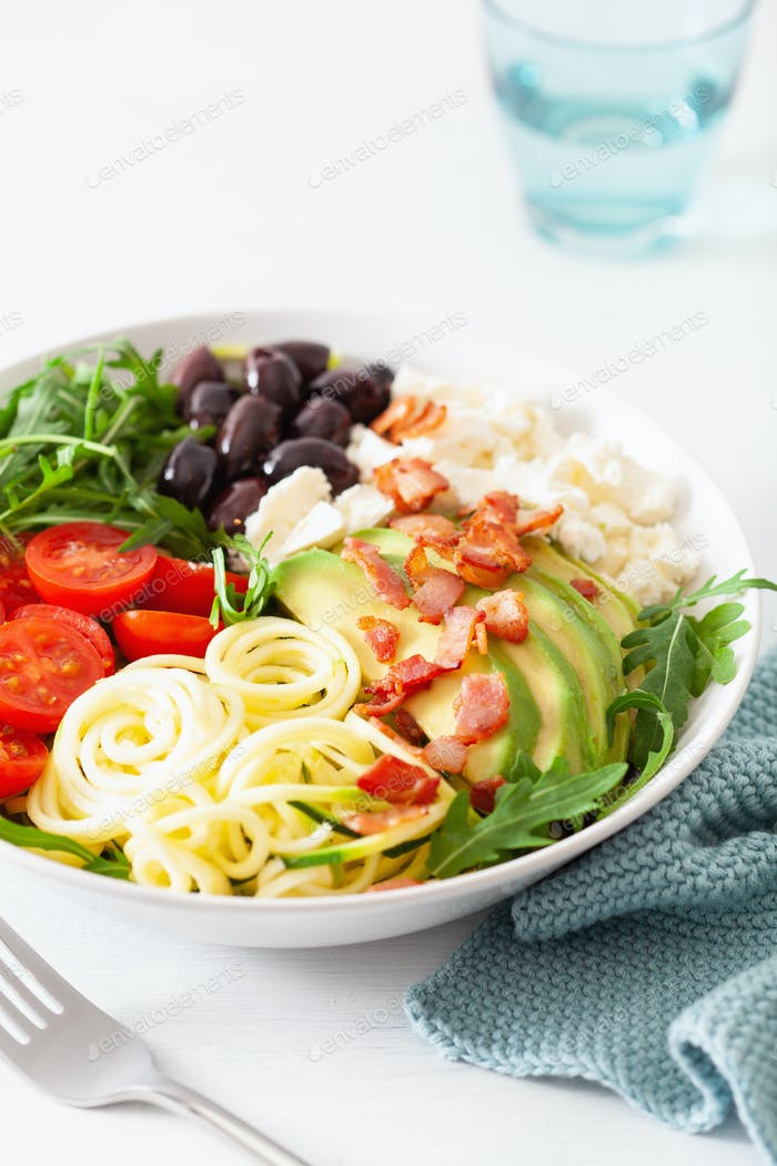 ketogenic lunch bowl: spiralized courgette with avocado, tomato,