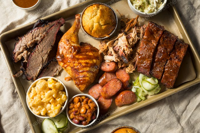 Homemade Barbecue Platter with Ribs