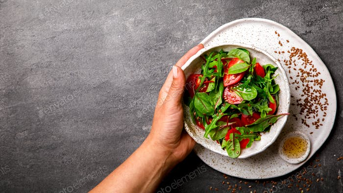 Salad with baby Spinach, arugula and Fresh Cherry Tomatoes