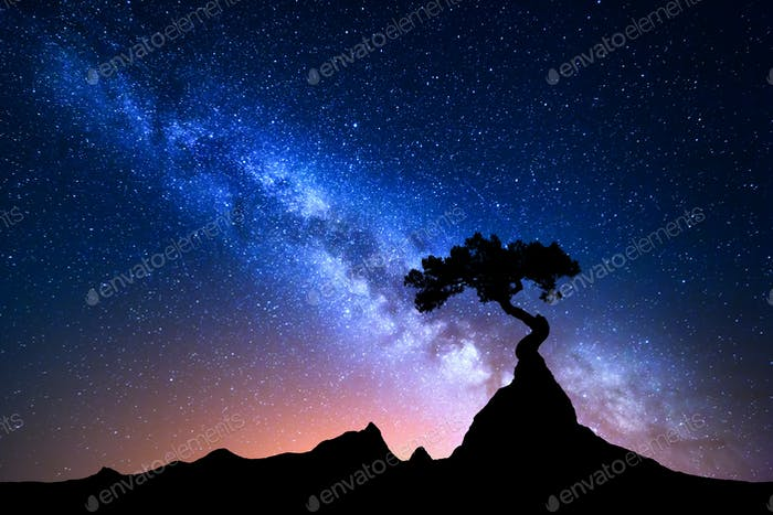 Starry sky with blue Milky Way. Night landscape