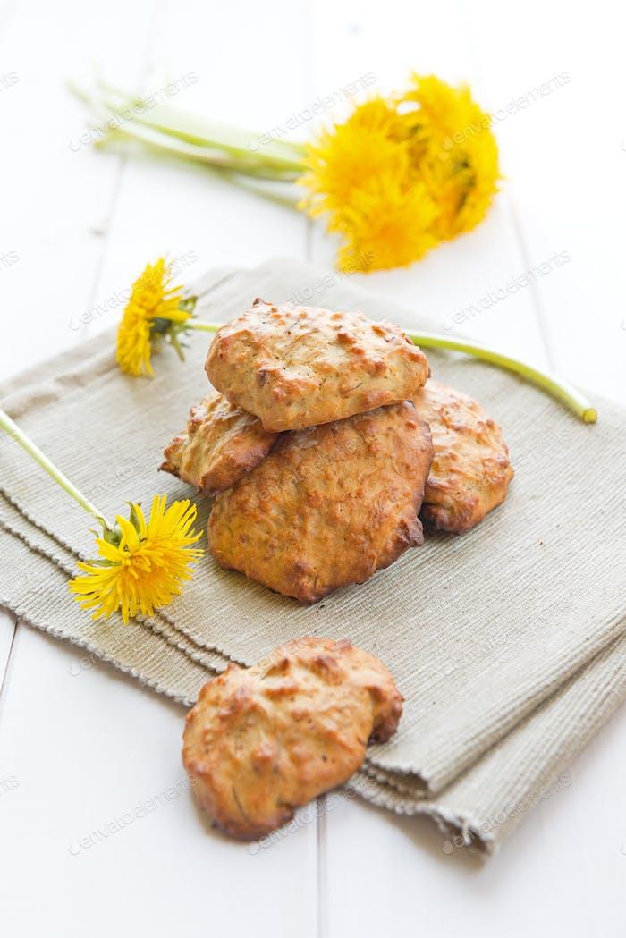 Cookies with dandelion's flowers