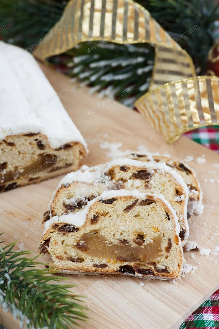 Stollen with marzipan for Christmas
